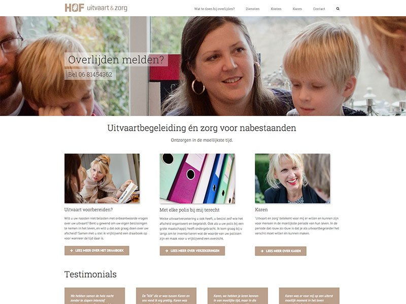 Website Hof uitvaart & zorg